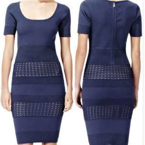 REISS Blue Luxe Banded Eyelet Bodycon Midi Dress
